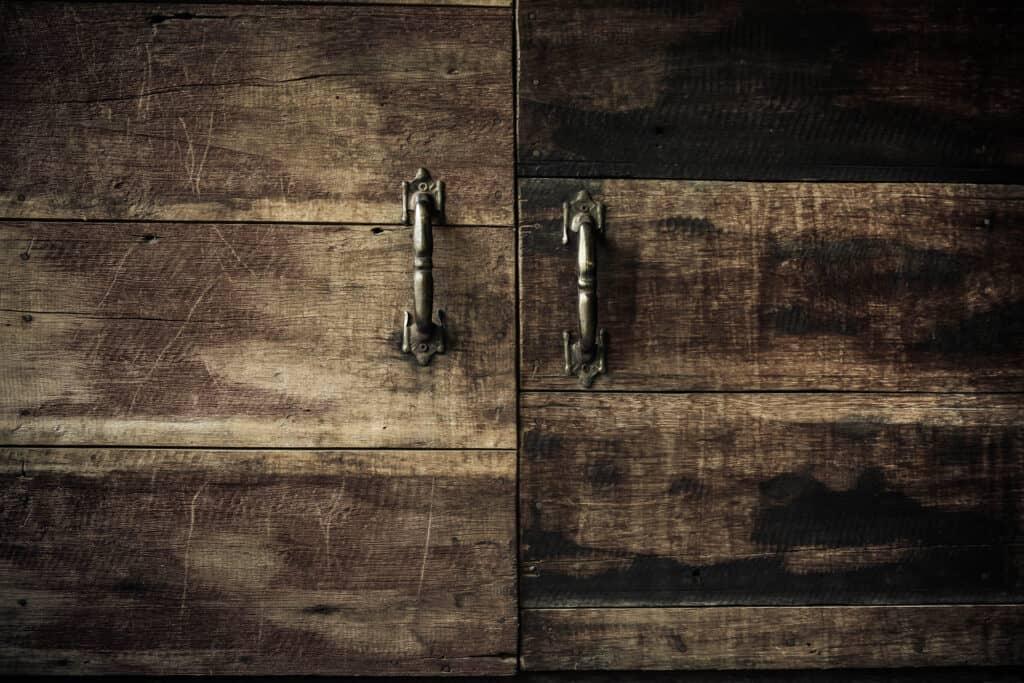 Close-up Kitchen cabinet doors, Vintage tone