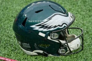 Philadelphia Eagles helmet sits on the field during the game between the Philadelphia Eagles and the New York Giants on November 15, 2020 at MetLife Stadium in East Rutherford, NJ.