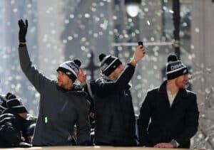 Quarterbacks Nick Foles, Nate Sudfeld and Carson Wentz of the Philadelphia Eagles during their Super Bowl Victory Parade on February 8, 2018 in Philadelphia, Pennsylvania.