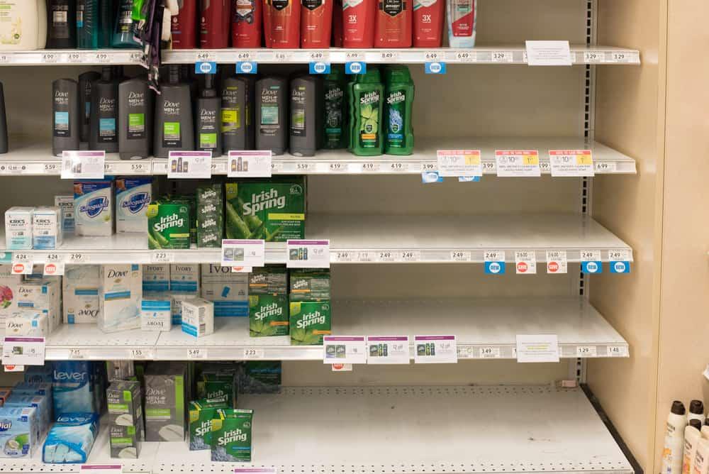 Empty Hand Soap and Sanitizer shelves at Publix