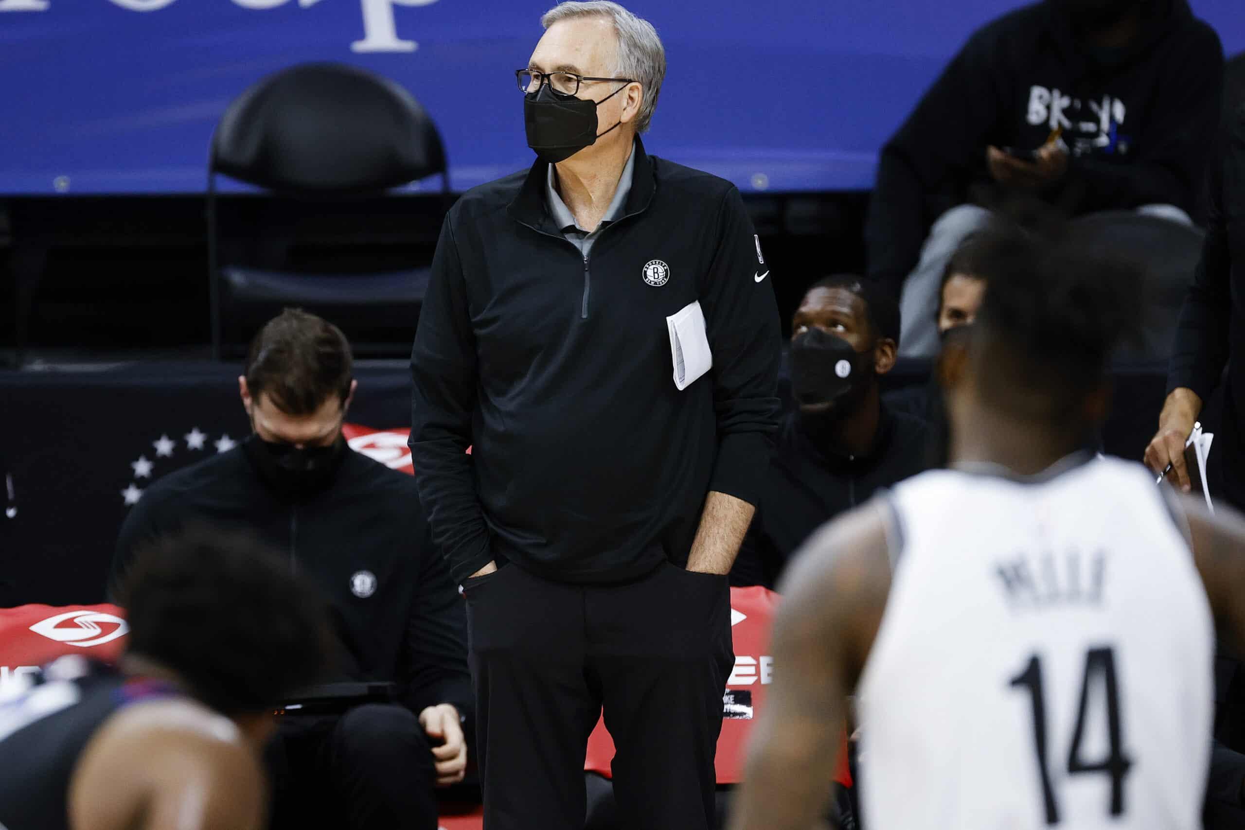 NBA Assistant coach Mike D'Antoni (C) looks on against the Philadelphia 76ers at Wells Fargo Center on February 06, 2021 in Philadelphia, Pennsylvania.