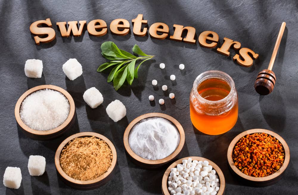 Top view of natural sweeteners