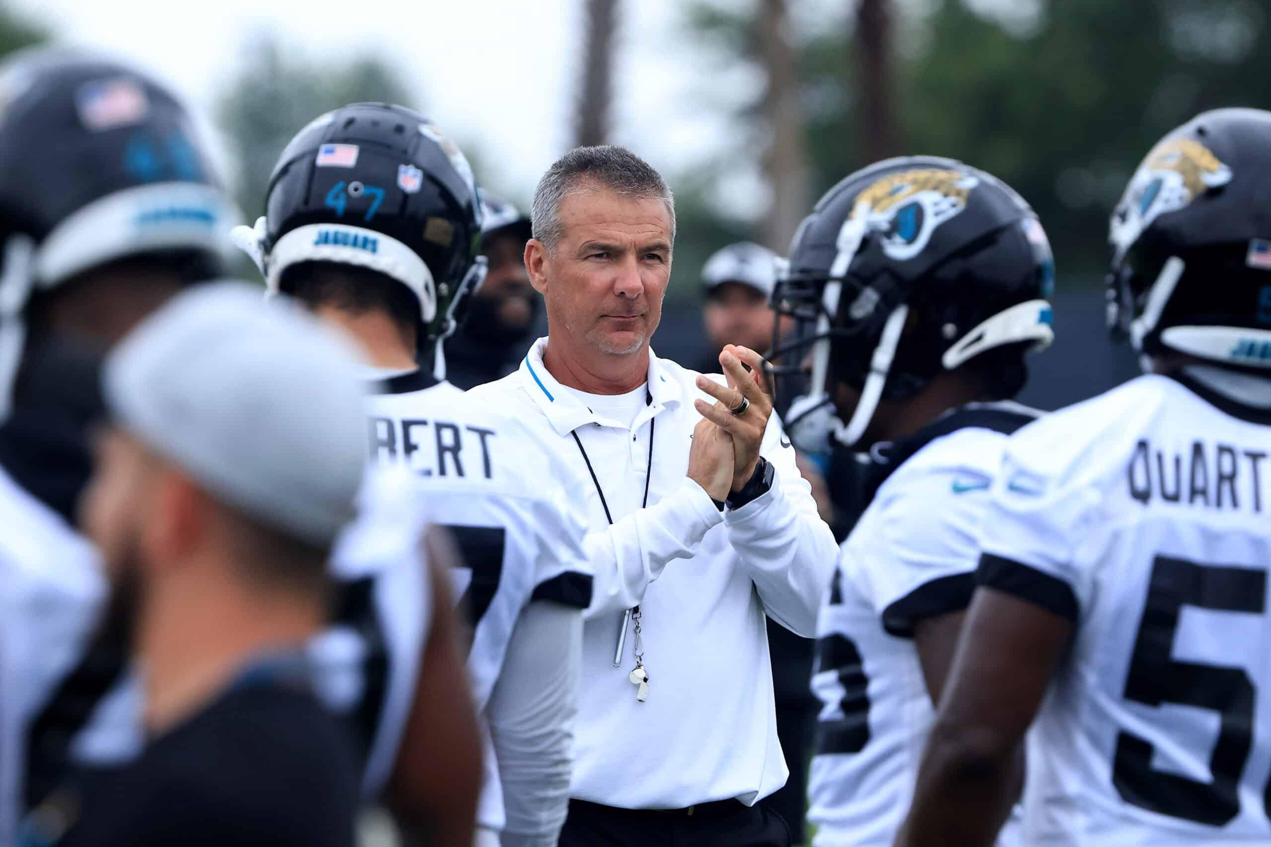 Head coach of the Jacksonville Jaguars Urban Meyer looks on during Jacksonville Jaguars Mandatory Minicamp at TIAA Bank Field on June 14, 2021 in Jacksonville, Florida.