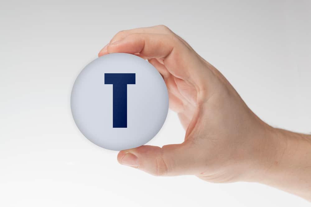 Man's hand holding white styrofoam ball with letter T
