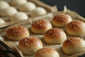 homemade bread rolls with sesame seeds hamburger