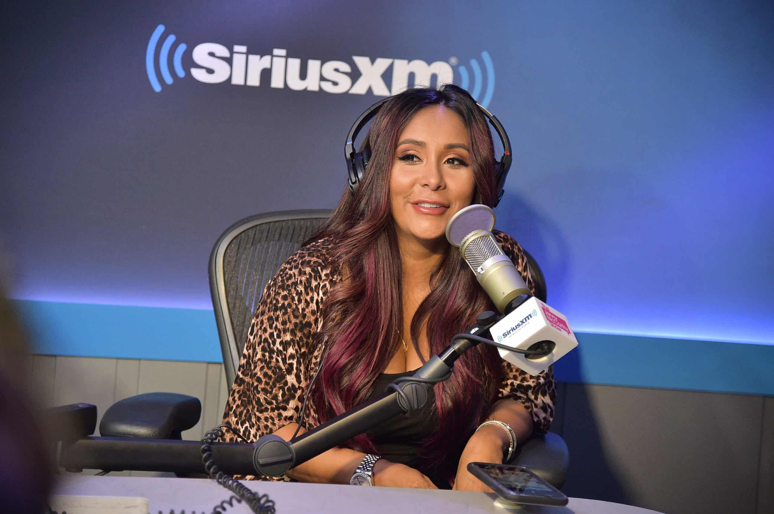 "Nicole ""Snooki"" Polizzi visits SiriusXM Studios on July 09, 2019 in New York City."