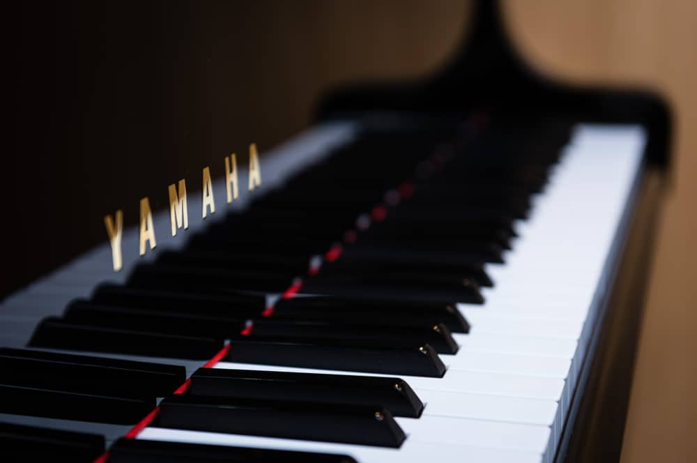 A side view of Yamaha piano keys