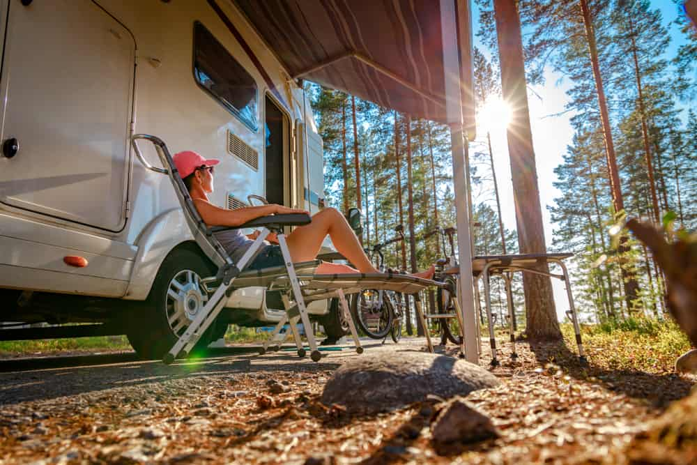 Family vacation travel RV, holiday trip in motorhome, Caravan car Vacation