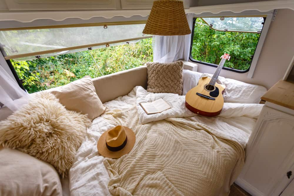 Inside the camper van