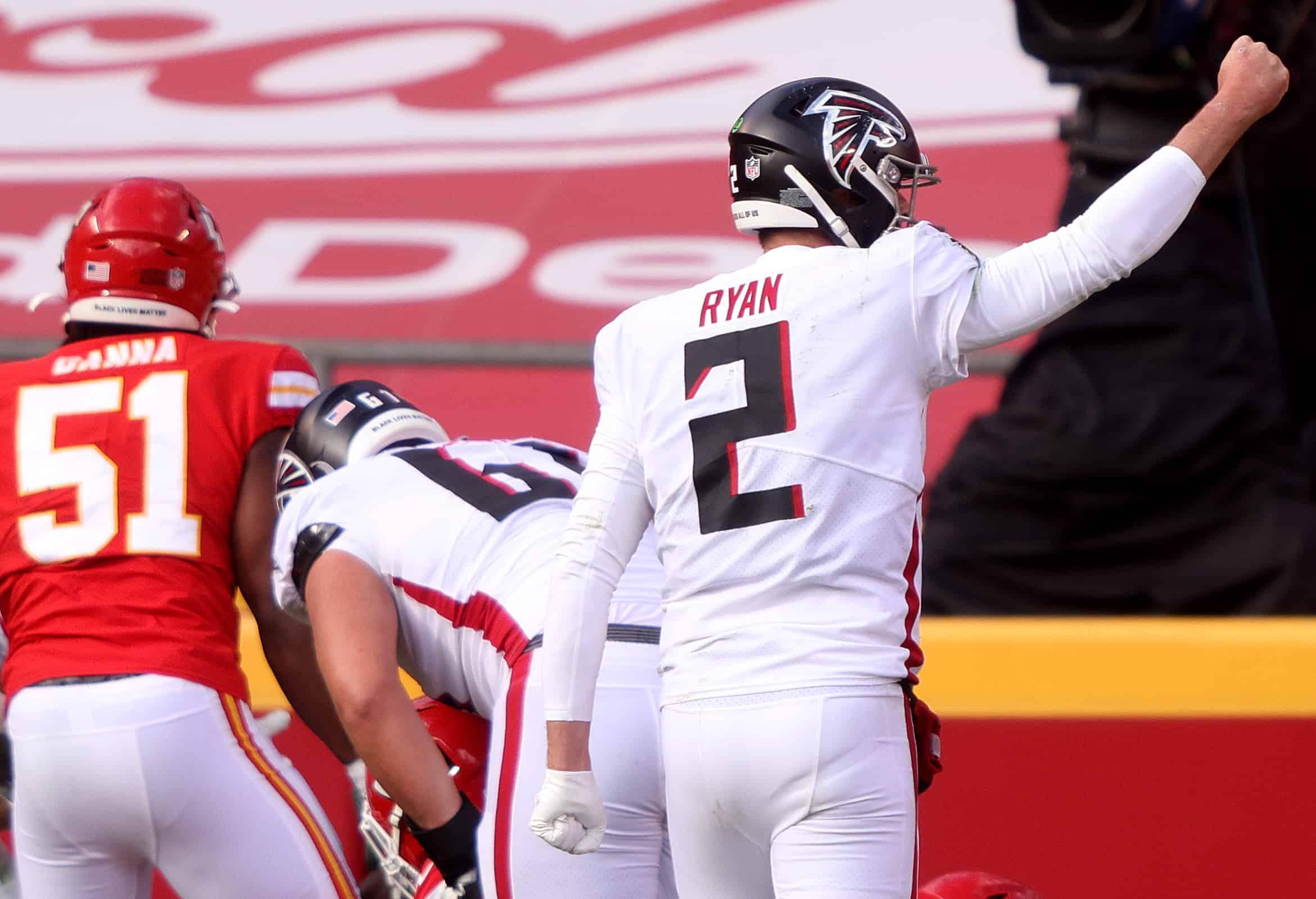 Matt Ryan #2 of the Atlanta Falcons celebrates his touchdown against the Kansas City Chiefs during the second quarter at Arrowhead Stadium on December 27, 2020 in Kansas City, Missouri.