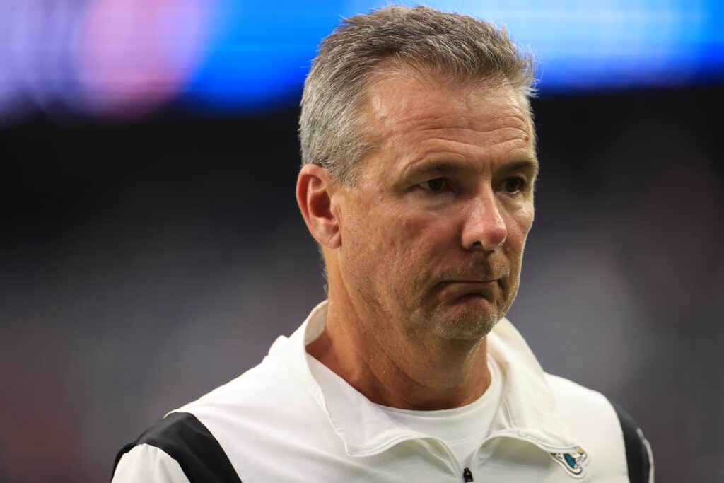 Head coach Urban Meyer of the Jacksonville Jaguars looks on against the Houston Texans at NRG Stadium on September 12, 2021 in Houston, Texas.