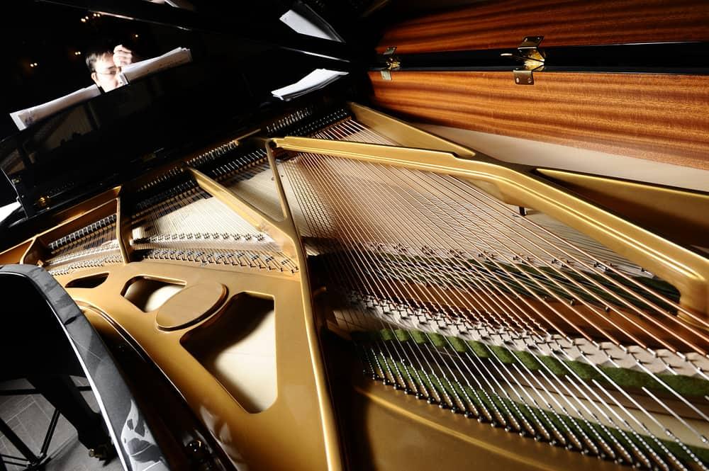 open a piano, strings